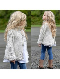 Beige Single Breasted Band Collar Fashion Cardigan Coat #Chic429047_Sum | Sumchic Teenage Girl Outfits, Cute Girl Outfits, Kids Outfits Girls, Baby Girl Cardigans, Girls Sweaters, Velvet Acorn, Sweater Coats, Sweater Cardigan, Crochet Cardigan