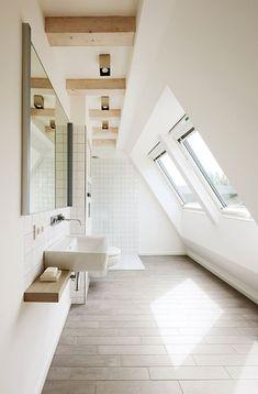 badezimmer dachschräge mosaikfliesen spüle schrank | bad ... - Badezimmer Dachschrge