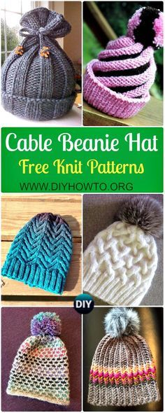 Knit Cable Beanie Hat Free Patterns: Knit Winter Hat, Knit Horse Shoe stitch hat, knit thick hat, chunky knit hat for kids, girls and adults hat kids girls Knit Cable Beanie Hat Free Patterns Knitted Hats Kids, Knitting For Kids, Kids Hats, Loom Knitting, Knitting Patterns Free, Knit Patterns, Baby Knitting, Crochet Hats, Free Pattern