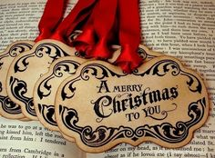 Merry Christmas Gift Tags/Labels/Hang TagsSET of by craftypagan