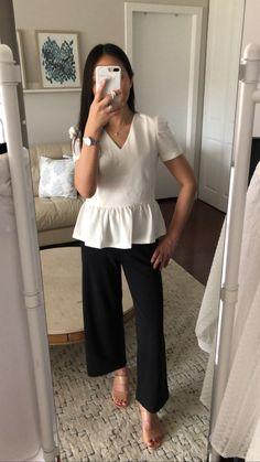 Ann Taylor Ottoman Puff Sleeve Peplum Top, size XSP
