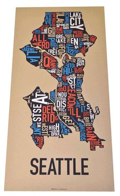 A four-color screen print to represent the Emerald City and all of its colorful neighborhoods by Ork Posters. $35 #seattle #screenprint #map