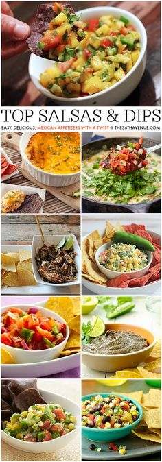 Top Salsa and Dip Recipes. Pin it now and make them later!