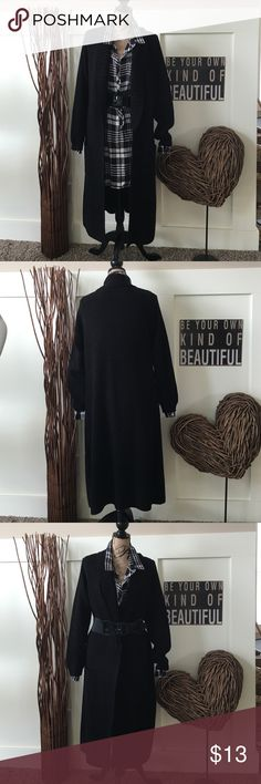 Relativity black open front. Coat sweater Long coat sweater with fold back lapels and front pockets.  Looks great belted or open. Some piling as noted in last picture. Relativity Sweaters Cardigans
