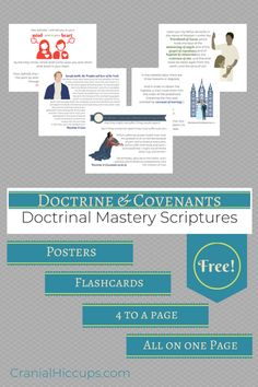 Doctrine & Covenants Doctrinal Mastery posters, flashcards, 4 to a page, and all on one page prints FREE to use in seminary or at home. Scripture Mastery, Lds Seminary, Doctrine And Covenants, Lds Scriptures, Lds Primary, Church History, Teaching Tools, Teaching Ideas, The Covenant