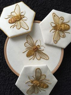 Would be so cool on a white or gray sheet set, esp with a honeycomb border across the pillow case Introduction to Goldwork: Bumblebee Introduction to Gold Work Kit - Purl & Check Bumble Bee - Kathleen Laurel Sage Einführung in Goldwork: Hummel Stickerei Japanese Embroidery, Hand Embroidery Stitches, Hand Embroidery Designs, Embroidery Art, Cross Stitch Embroidery, Indian Embroidery, Zardozi Embroidery, Simple Embroidery, Beginner Embroidery