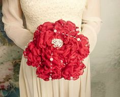 White red silver Fabric Bouquet winter Wedding Bridal Bouquet with Pearls HANDMADE flowers brooch cotton lace satin handle - pinned by pin4etsy.com