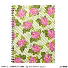 Tropical Flower Green Stripes Notebook Journal - baby gifts child new born gift idea diy cyo special unique design Tropical Flowers, Floral Flowers, Floral Style, Pink Style, Custom Journals, Newborn Baby Gifts, Journal Notebook, Office Gifts, Green Stripes
