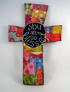 bright and colorful handmade cross