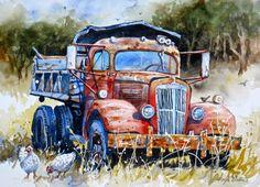 Original Watercolor Art Painting of Antique Red por HeartsEase2