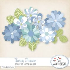 Daisies & Dimples Fancy Flowers CU [kimcameron_fancyflowers] - Create some beautiful blooms for most any kit with these simple flower templates! Includes a PSD and separate PNG layers for 7 flowers and 2 leaves. Commercial use ok!