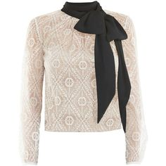 Victor Xenia London - Freesia Blouse White & Black (1.050 RON) ❤ liked on Polyvore featuring tops, blouses, black and white bow blouse, bow tie top, draped blouses, lace top and black white top