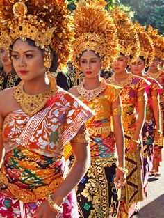 Women wearing traditional costumes at Bali Art Festival, Indonesia
