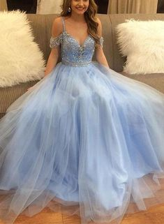 02161bf70d63 Light blue party dress off shoulder evening dress spaghetti straps prom  dress applique long formal dress tulle beading evening dress