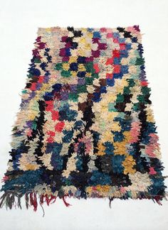 Boucharouite Moroccan Rag rug , Rag Rug, Boho Chic Hippie Rugs, Colorful Cotton Bath Mat, Kitchen Area Rug, Woven Loom Rug,ready to ship   A