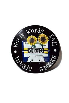Where words fail, music speaks painted on a vinyl record vintage boho sunflowers cassette tape hippie Art Cd, Records Diy, Record Wall Art, Hippie Painting, Cd Crafts, Aesthetic Painting, My New Room, Vinyl Art, Painting Inspiration