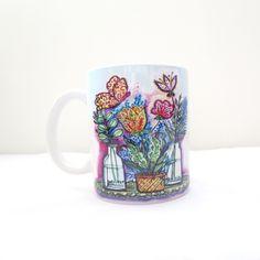 Caneca de Porcelana imagem vasos e flores