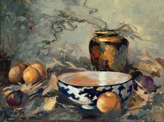 Blue and white bowl with fruit See more at:  http://www.DianeStoneArt.com #art #paintings #oils