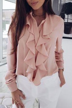 Ruffle Long Sleeve Solid Blouse #Blouses