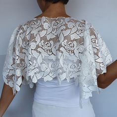 Bridal Lace Top Cream Bridal Shrug Shiny Ecru Cream Wedding