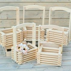 Flower boxes, box of slats, boxes, boxes, - buy in online store at the Fair of Masters with delivery Diy Crafts Hacks, Diy Home Crafts, Wood Crafts, Diy Popsicle Stick Crafts, Popsicle Sticks, Stick Art, Wood Pallet Furniture, Wooden Crates, Garden Chairs