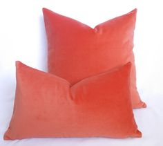 Cotton Velvet Pillow Coral 12x20 inch BOTH by WillaSkyeHome  Color