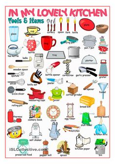Kitchen Picture Dictionary worksheet - Free ESL printable worksheets made by teachers English Verbs, Kids English, English Vocabulary Words, Learn English Words, English Tips, English Study, English Class, English Lessons, English English