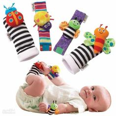 Blige SMTF Cute Animal Soft Baby Socks Toys Wrist Rattles and Foot Finders for Fun Butterflies and Lady bugs Set 4 pcs Best Baby Toys / Gifts For Baby Baby Sensory Toys, Newborn Toys, Baby Girl Toys, Toys For Girls, Baby Crib, Baby Newborn, Baby Monat Für Monat, Book Bebe, Sock Toys