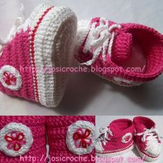 Baby Converse shoes pattern in thread. It is in English, you just have to scroll down!