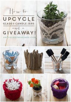 How to #Upcycle Candle Jars to create #DIY home decor, planters or organize your crafts or toiletries! UpcycledTreasures.com