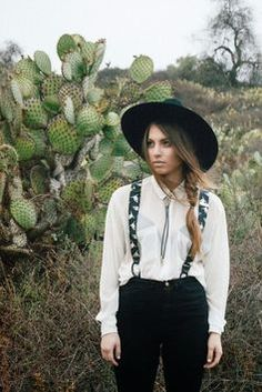 suspenders, bolo, gaucho hat