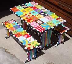 for garage sale find! Decoupage fabric or paper to a children's table to refinish it.
