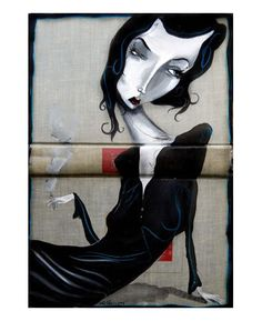 "Mike Stilkey  ""Dry All My Tears"" 2008  Ink and acrylic on old book  http://blog.wlbooks.com"