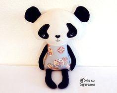 Panda Teddy Bear PDF Sewing Pattern Softie Stuffed Toy