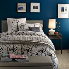 Black, White & Blue Bedroom - just like our blue wall