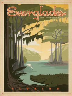 Vintage poster for the Everglades National Park
