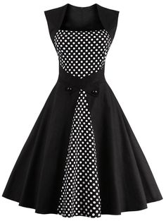 Polka Dot Semi Formal Midi Skater Dress - Black L Mobile Robes Vintage, Vintage Dresses, Vintage Outfits, Vintage Fashion, Vintage Clothing, Vintage Jewelry, Vestido Dot, Pretty Dresses, Beautiful Dresses