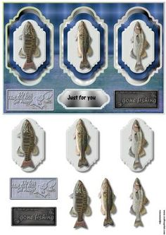 3 panel male card Fishing on Craftsuprint designed by Marijke Kok - Great male card and so easy to make - Now available for download!