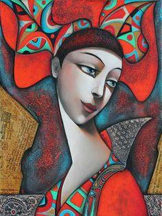 MY BELLA ~ by Wlad Safronow, Ukranian artist, born 1965 in Kharkov, Ukraine. Cubism Art, Ukrainian Art, Arte Pop, Face Art, Figurative Art, Art Images, Painting & Drawing, Silk Painting, Modern Art