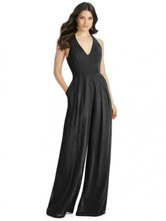 Dessy Shimmer Bridesmaid Jumpsuit Arielle Ls In Glittering Lux Shimmer Chiffon v-neck jumpsuit with open back detail and inset band at natural waist. Pleated front with slash pockets. Dessy Bridesmaid Dresses, Bridesmaid Outfit, Bridesmaid Jumpsuits, Bridesmaids, Wedding Dresses, Prom Dresses, Chiffon, Wedding Jumpsuit, Women's Fashion Dresses