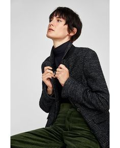 Image 4 of CHECKED DOUBLE-BREASTED COAT from Zara