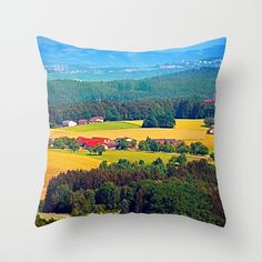 Summer scenery with lots of green and blue Throw Pillow by patrickjobst Blue Throw Pillows, Scenery, Green, Summer, Summer Time, Landscape, Paisajes, Blue Pillows, Nature