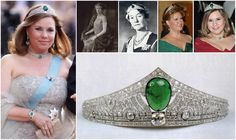 Emerald Art Deco Tiara. Made by Chaumet in 1926. Featuring a single large central cabochon emerald and diamonds set in platinum. A few old pieces of jewelry, such as a necklace, some earrings, a brooch and other pieces including a large egg shaped emerald and large diamonds were sent from Luxembourg to the Paris headquarters of the jeweler to make the tiara. The piece was brought into the family when Grand Duchess Charlotte married Prince Felix of Bourbon-Parma in 1919