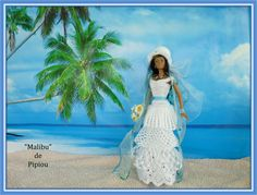 de pipiou Barbie Wedding, Barbie Clothes, Crochet, Cloths, Marie, Projects To Try, Creations, Dolls, Bridal