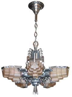 American Art Deco Five Shade Sculptural Aluminum and Pink Glass Chandelier