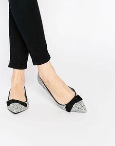 b443e3eb974 Image 1 of Oasis Glitter Bow Pointed Flat Shoes Glitter Flats