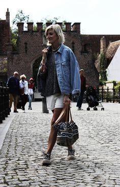 look_TheLittleBoho - Denim Jacket - Sweater - Grey Sweater - Zara - White Short - Short - Promod - Sneakers - Glitter Sneakers - Cabane Indigo Bag - 43MM Rose Gold/Grey Raw - Watches - Rose Gold Watch - Christian Paul - Bracelets - Jewelry - Shashi