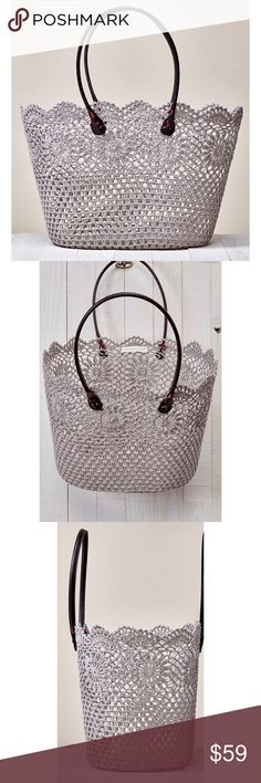 """Daisy Lace Tote Fabulous beige crochet daisy lace woven tote bag. A perfect addition to your summer wardrobe. Such a versatile piece. Carry it to the beach, carry it to the gym, great as a catch all tote for running errands too. Go girly and wear it on date night.  Coated floral crochet lace tote bag with finish, vegan leather straps detail. 70% POLYESTER, 30% RESIN                                                          Width 18"""" Depth 11"""" Strap Drop 8"""" Love Stitch  Bags Totes"""