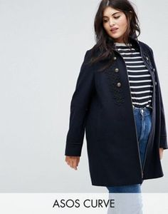 ASOS CURVE Military Coat with Frogging Detail