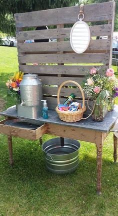 Pallet Board dual hand washing station for porta potties at a wedding.